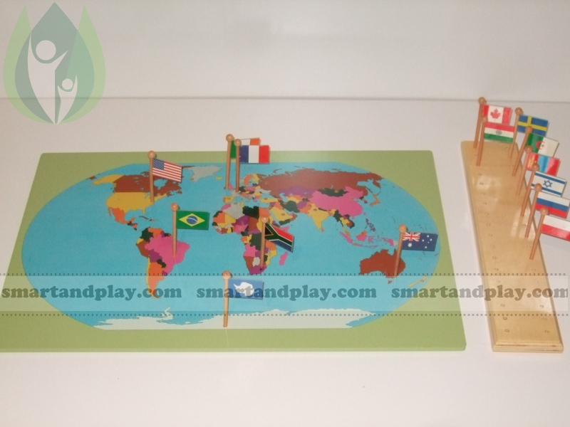 World map with flags montessori teaching aids price 339 world map with flags gumiabroncs Images